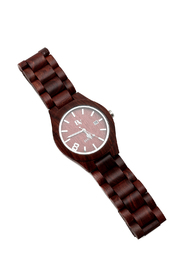 Bean & Vanilla Red Sandal Wooden Watch - Front cropped