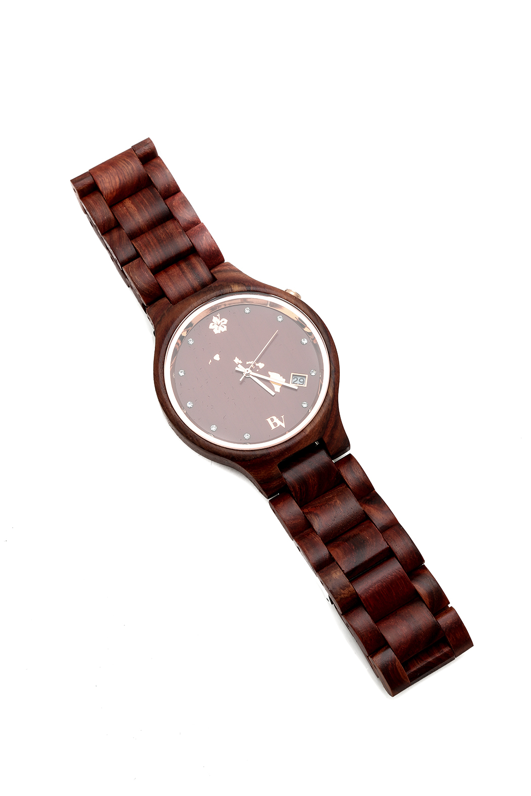 Bean & Vanilla Red Wooden Watch - Front Cropped Image