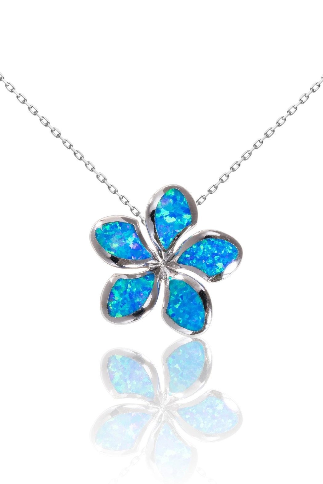 Bean & Vanilla Blue-Opal Plumeria Pendant - Front Cropped Image