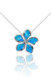 Bean & Vanilla Blue-Opal Plumeria Pendant - Front cropped