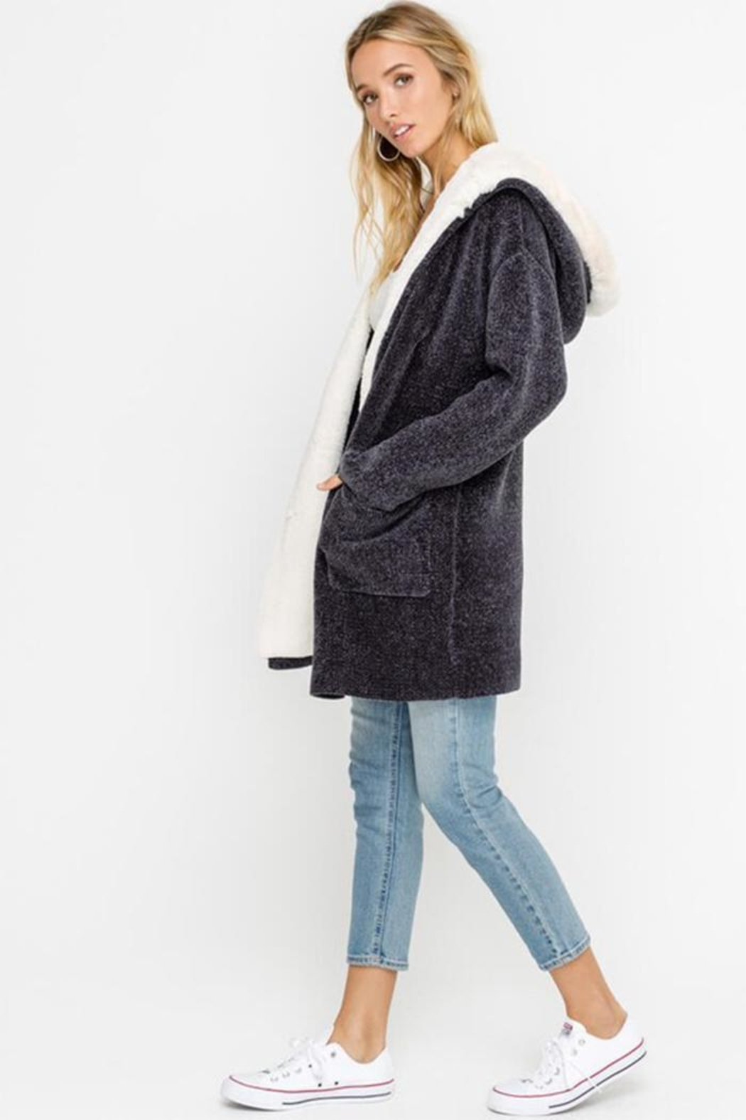 Lush Bear Fur Jacket - Side Cropped Image