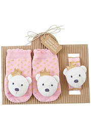 Mud Pie Bear Rattle/sock Set - Product Mini Image