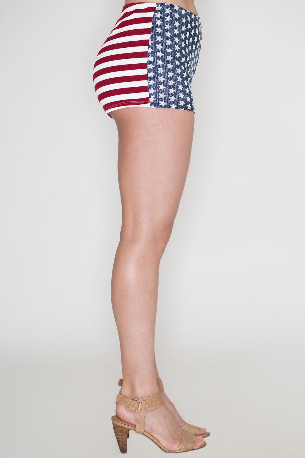 Bear Dance American Flag Shorts - Side Cropped Image