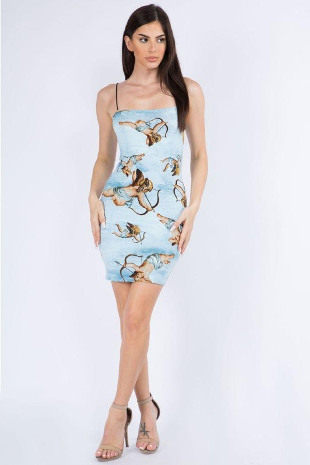 Bear Dance Angel Print Bungee Strap Mini Dress - Front Cropped Image