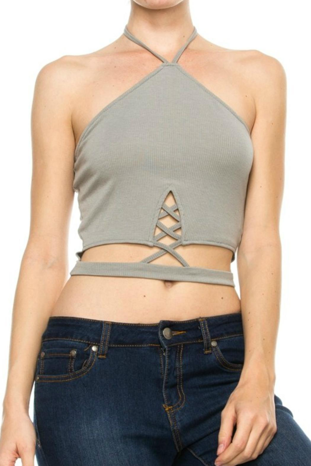 Bear Dance Cutout Crop Top - Front Cropped Image