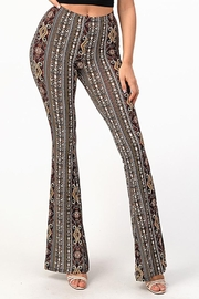 Bear Dance Print Pattern Flair Bell Bottom Pants - Front cropped