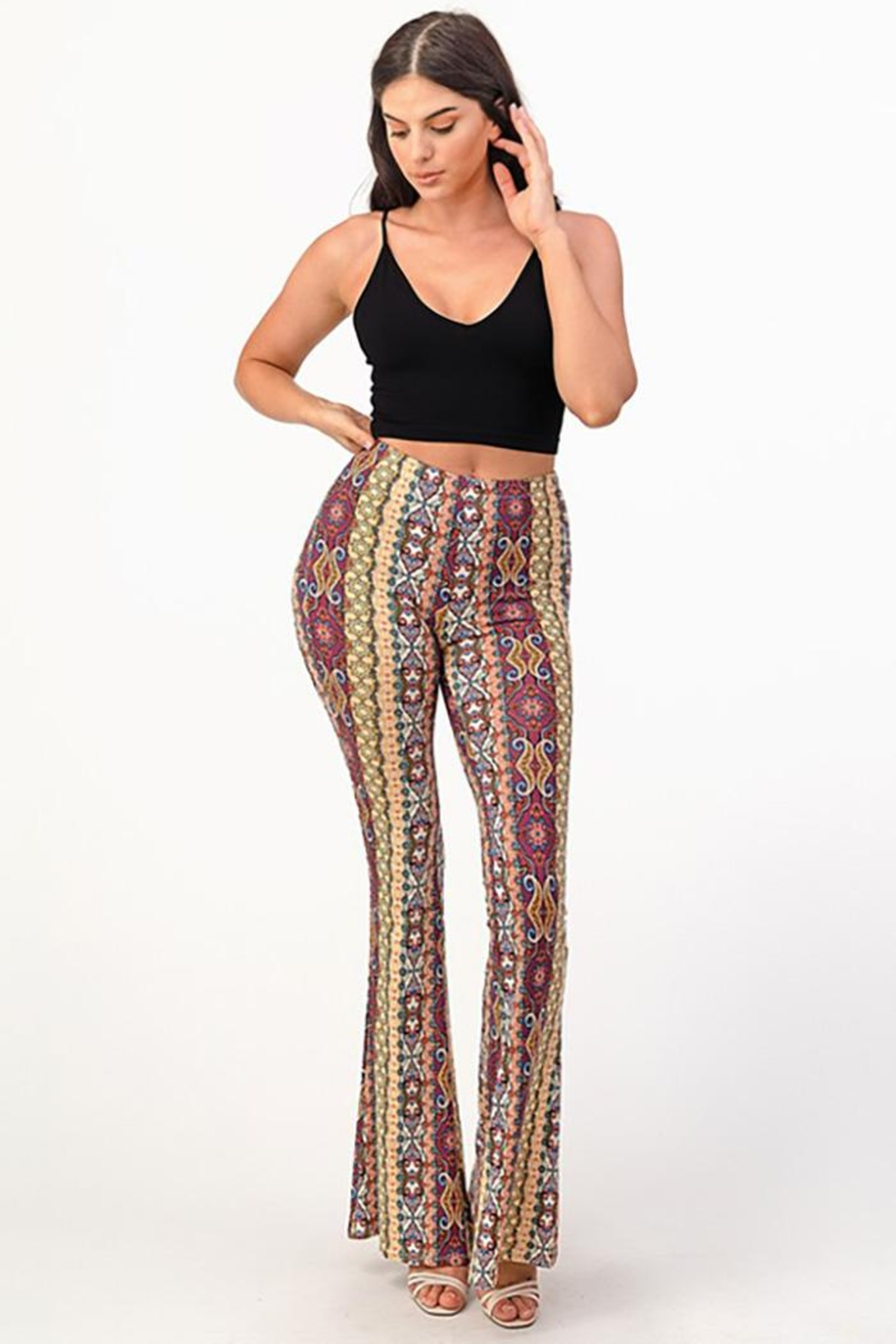 Bear Dance Printed Bell Bottom Palazzo Pants - Main Image
