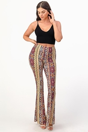 Bear Dance Printed Bell Bottom Palazzo Pants - Front cropped