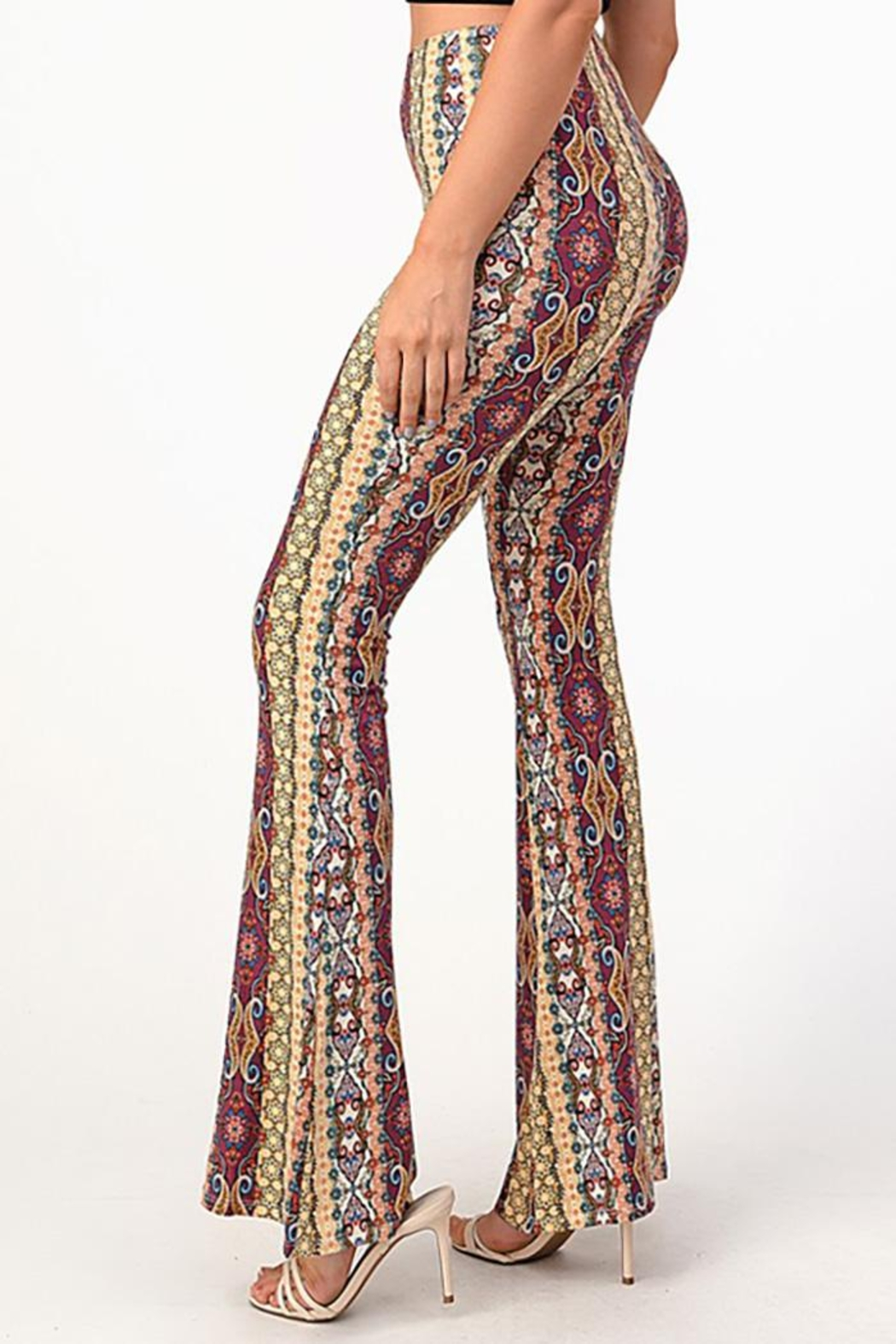 Bear Dance Printed Bell Bottom Palazzo Pants - Front Full Image