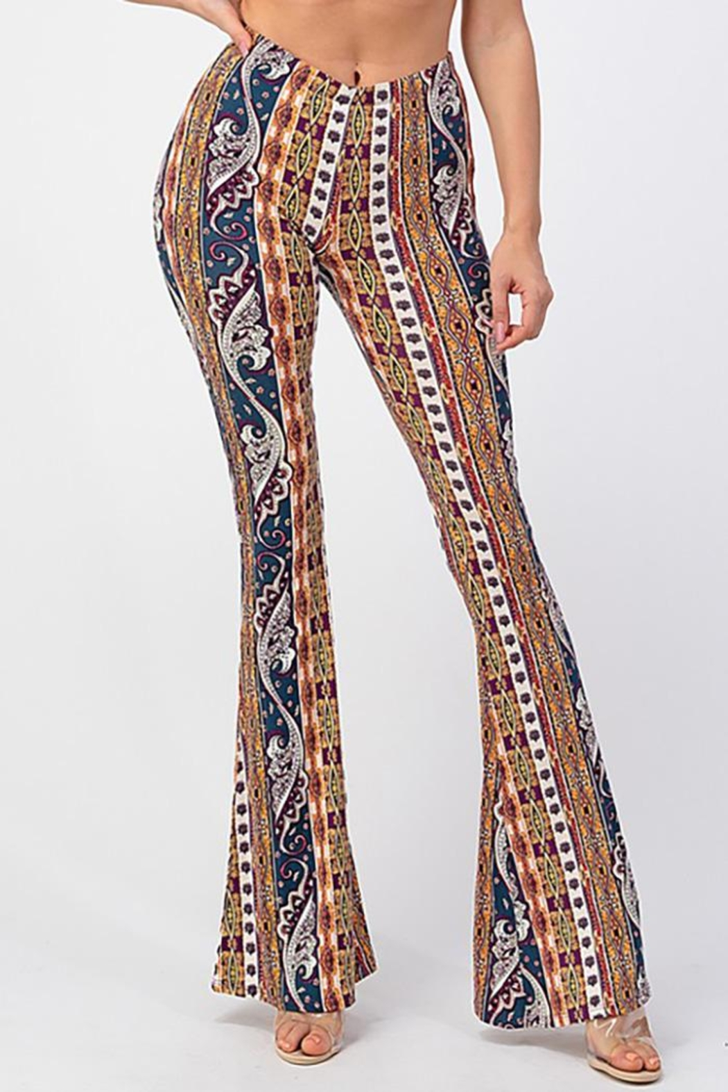 Bear Dance Printed Flair Palazzo Pants - Side Cropped Image