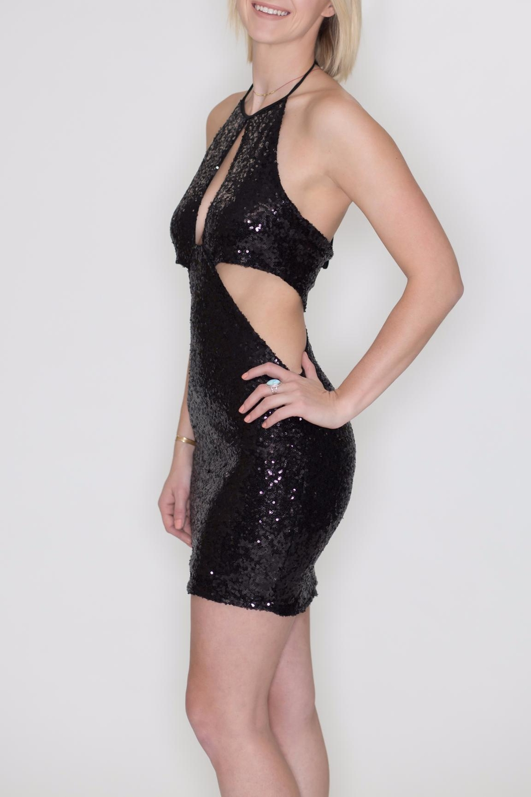 Bear Dance Sequin Cutout Dress - Side Cropped Image