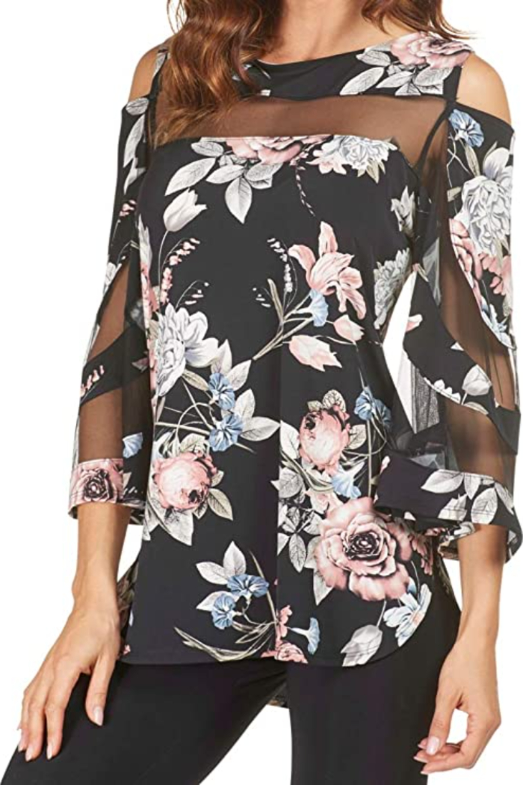 Frank Lyman Beautiful floral print tunic with exposed shoulder. - Main Image