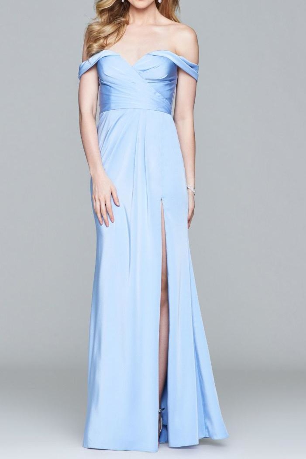 Faviana Beautiful Off-Shoulder Gown - Front Cropped Image