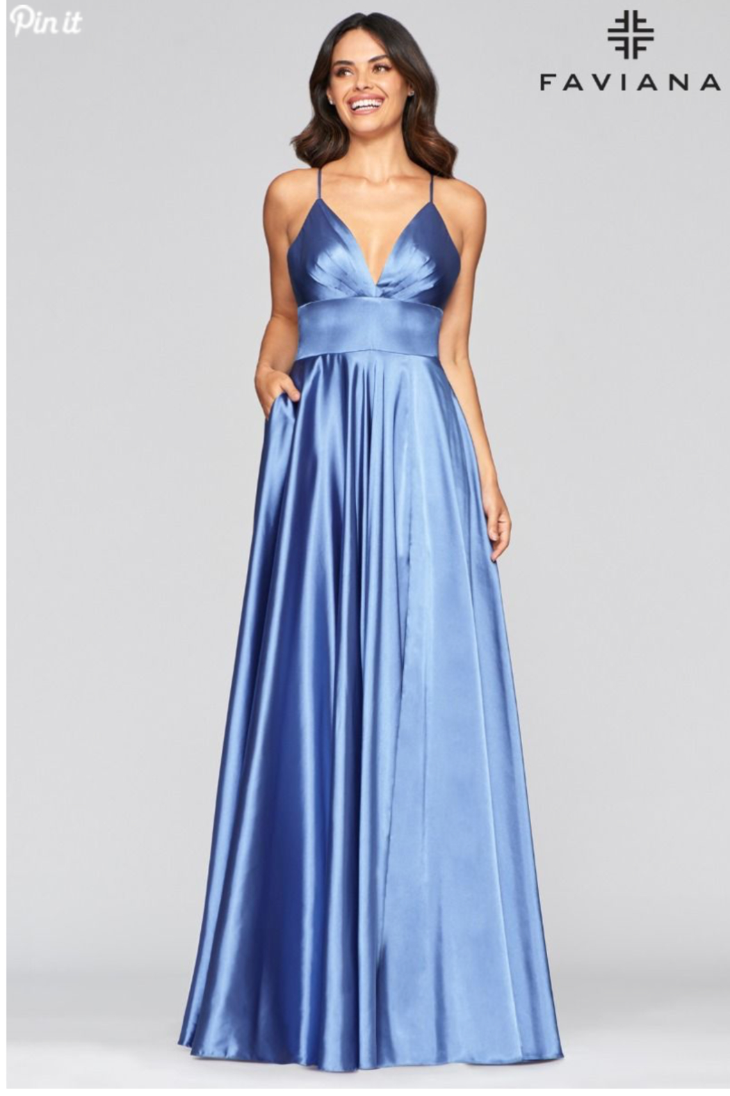 Faviana Beautiful Satin Gown - Front Cropped Image