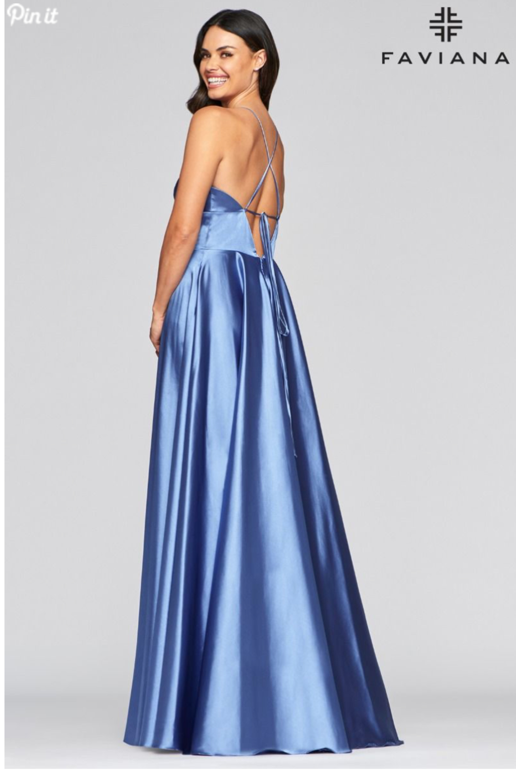 Faviana Beautiful Satin Gown - Front Full Image