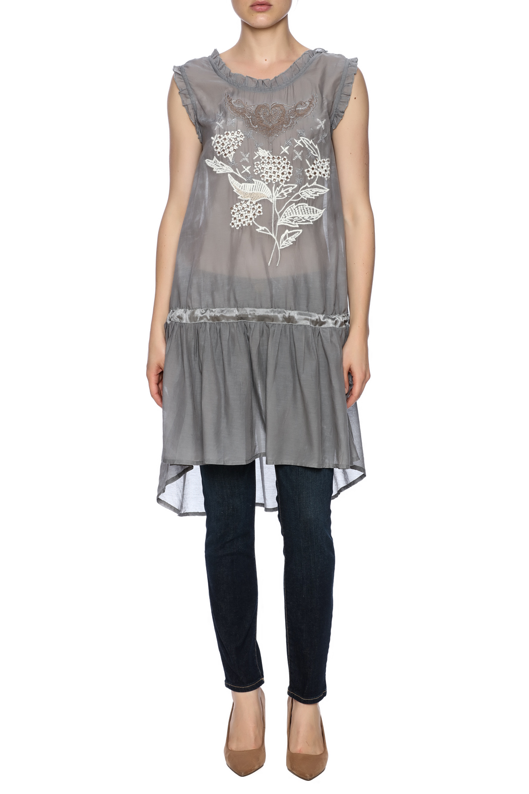 Beautiful Stories Embroidered Tunic - Front Cropped Image