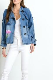 Beautifully Flower Patch Denim Jacket - Product Mini Image
