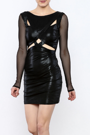 BEBE Fishnet Sleeve Dress - Product Mini Image
