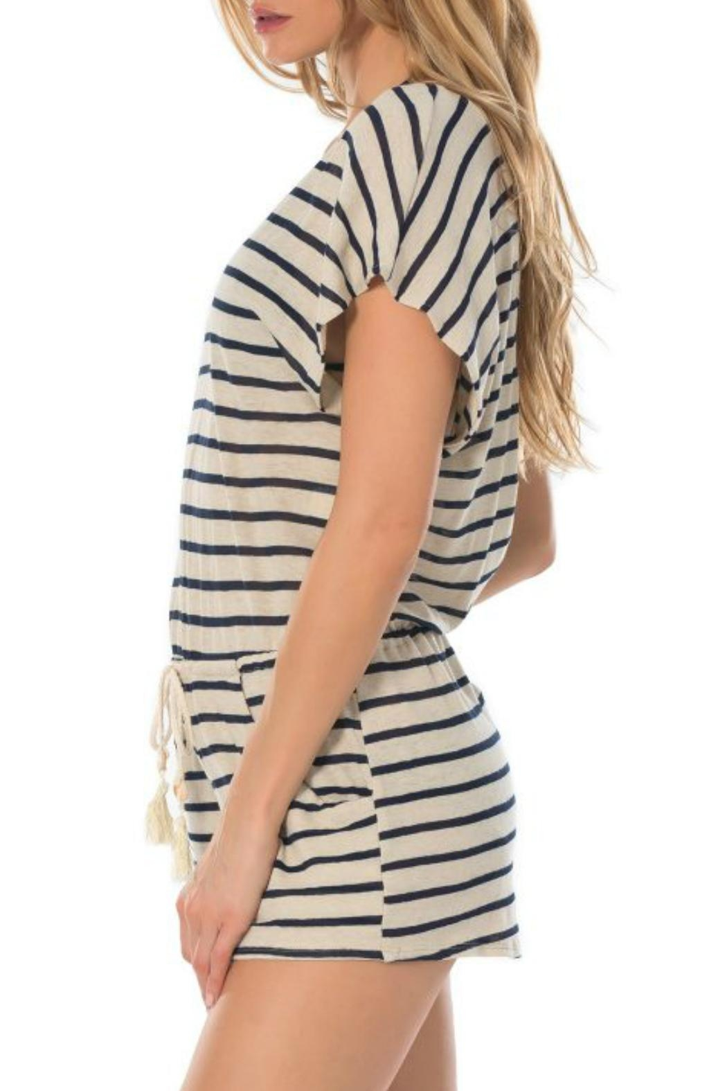 Becca Beach Striped Romper - Side Cropped Image