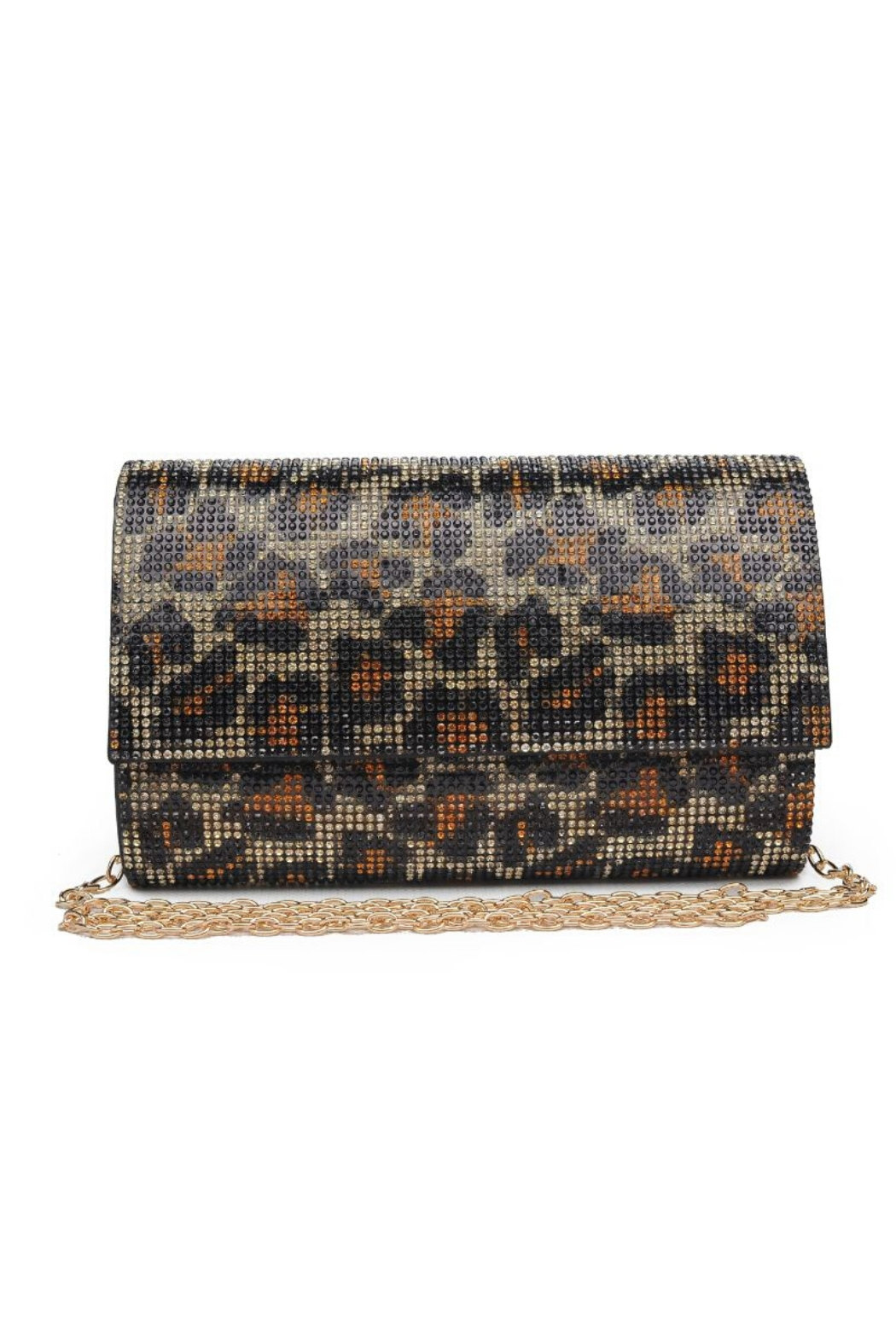 Urban Expressions Becky Leopard Crystal Clutch - Front Cropped Image