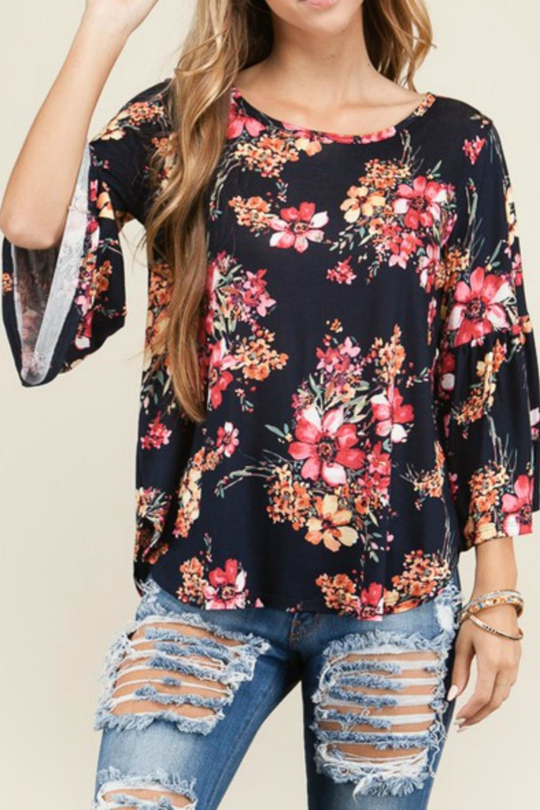 Bedazzled Floral Bell Top - Front Full Image