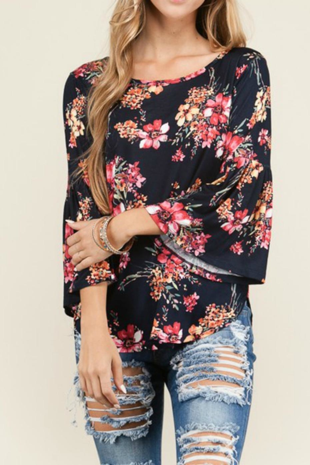Bedazzled Floral Bell Top - Main Image