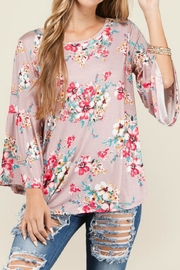 Bedazzled Floral Mauve Top - Front cropped