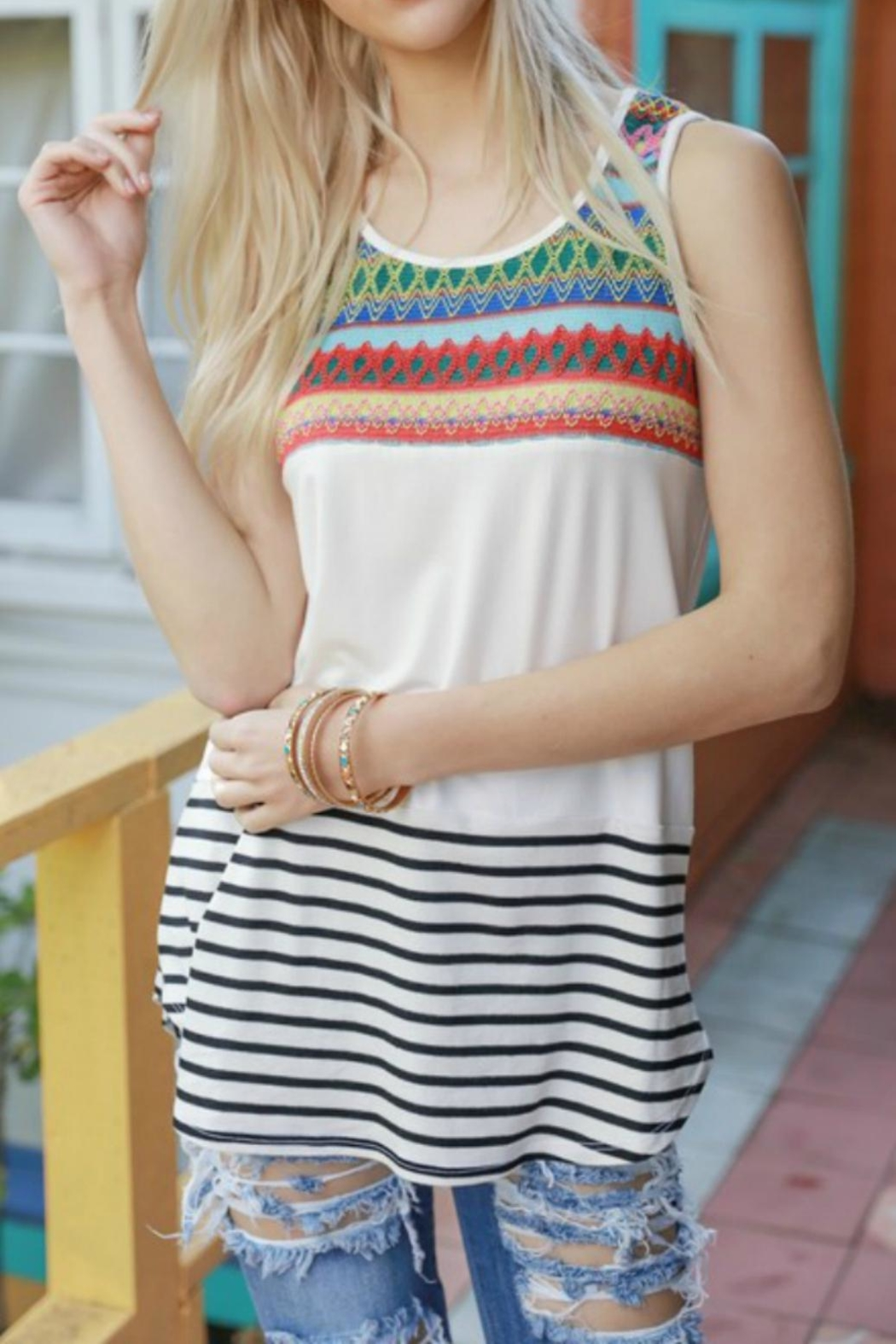 Bedazzled Stripe Aztec Tank - Front Cropped Image