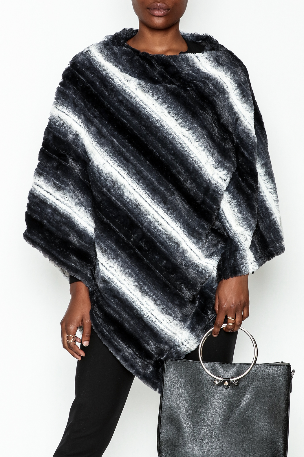 Bedford Basket Faux Fur Poncho - Front Cropped Image