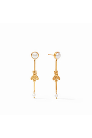Julie Vos Bee Duster Earring Gold Pearl - Front cropped
