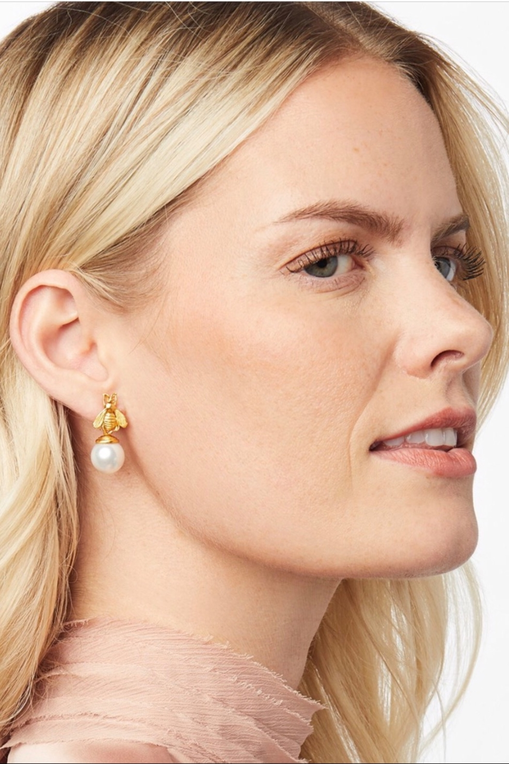 Julie Vos Bee Pearl Drop Earrings - Front Full Image