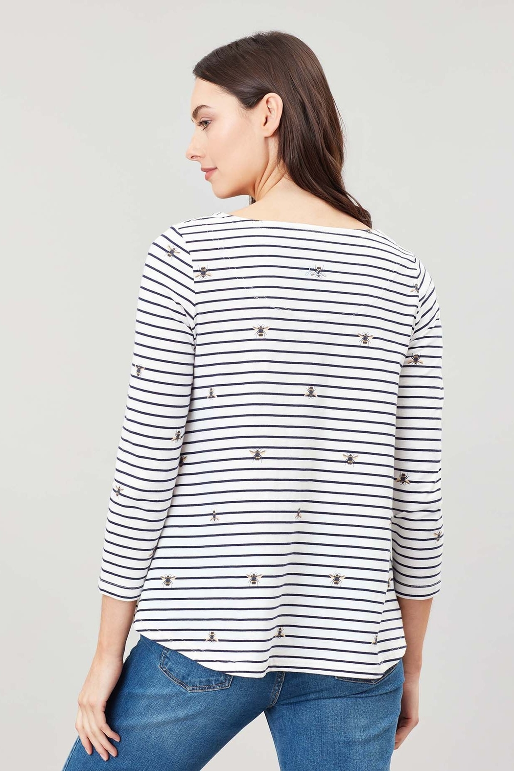 Joules Bee Stripe Swing Top - Back Cropped Image