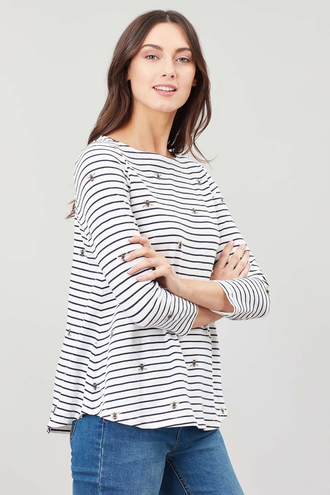 Joules Bee Stripe Swing Top - Front Full Image