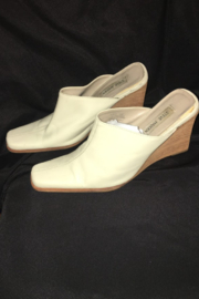 Anne Klein Beige Color Leather Wedge Mule - Other