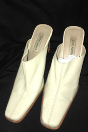 Anne Klein Beige Color Leather Wedge Mule - Front full body