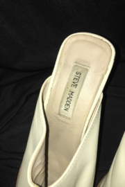 Anne Klein Beige Color Leather Wedge Mule - Front cropped