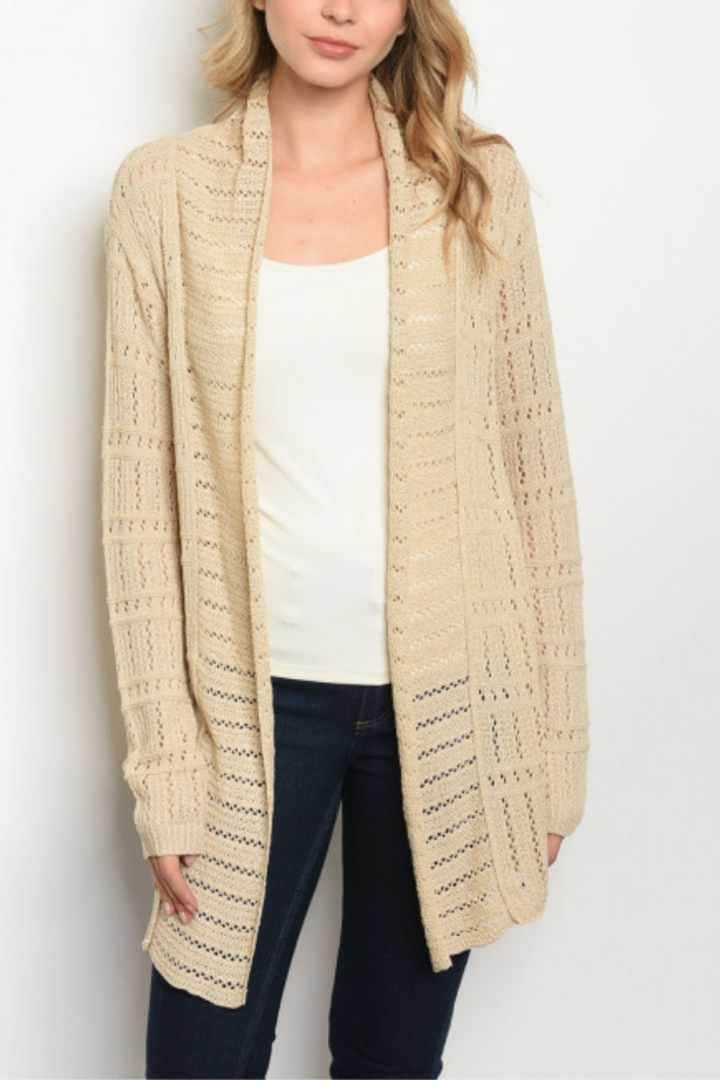 Lyn -Maree's Beige Everyday Cardi - Front Cropped Image
