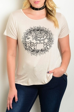 Cozy Casual Beige Graphic Tee - Product List Image