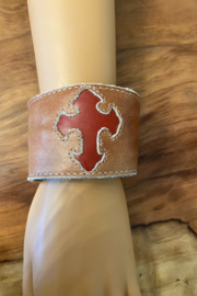 tesoro  Beige Handmade Leather Cross Cuff - Product Mini Image