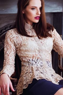Shoptiques Product: Beige Lace Shirt