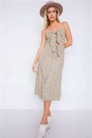 etophe studios Beige Minimalist Floral Print Center Cut Out Chic Midi Dress - Product Mini Image