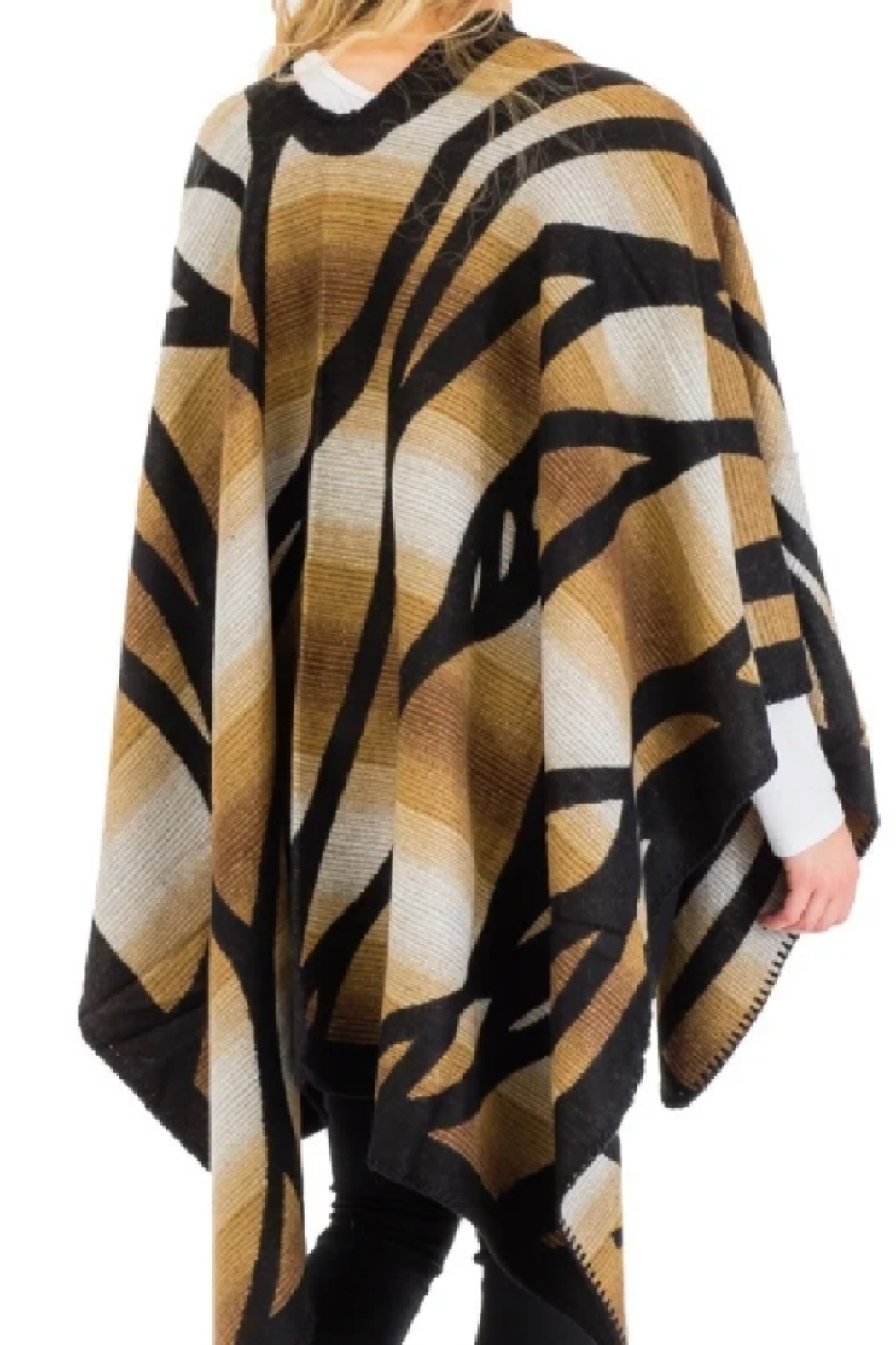 Cap Zone Beige Ombre Dyed Ruana Poncho - Front Full Image