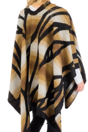 Cap Zone Beige Ombre Dyed Ruana Poncho - Front full body
