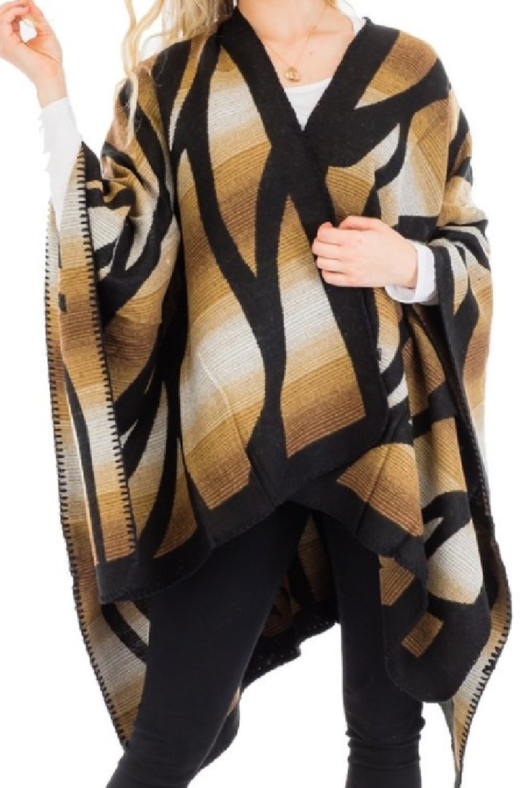 Cap Zone Beige Ombre Dyed Ruana Poncho - Main Image