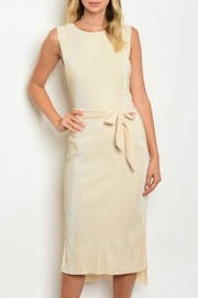 Dance & Marvel Beige Pleated Dress - Front cropped