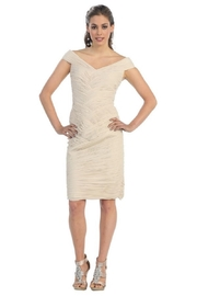 May Queen  Beige Pleated Short Dress - Product Mini Image