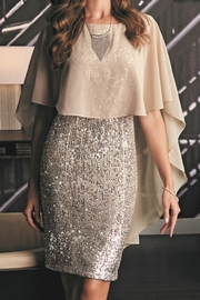 Frank Lyman Beige/Silver Sequin Overlay Knee Length Dress - Product Mini Image