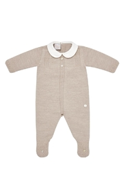 Paz Rodriguez Beige Sleepsuit. - Front cropped