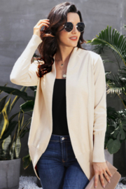 The Emerald Fox Boutique Beige Super Soft Long Sleeve Open Cardigan - Product Mini Image