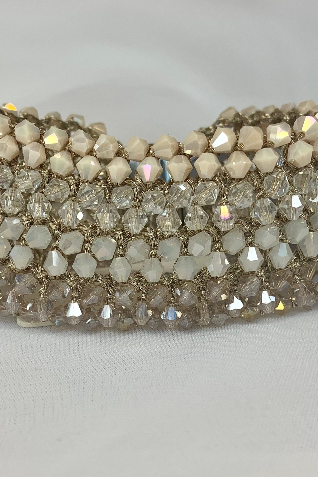 deannas Beige tone beaded cuff bracelet - Front Cropped Image
